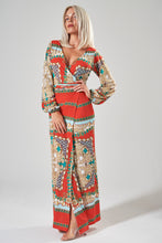 Load image into Gallery viewer, Red Scarf Print Maxi Wrap Dress with Balloon Sleeves