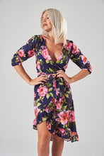 Load image into Gallery viewer, Navy Floral Midi Wrap Dress with Asymmetric Frill Hem