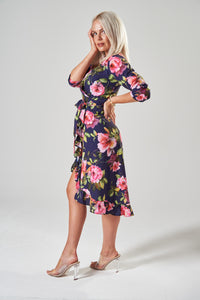 Navy Floral Midi Wrap Dress with Asymmetric Frill Hem