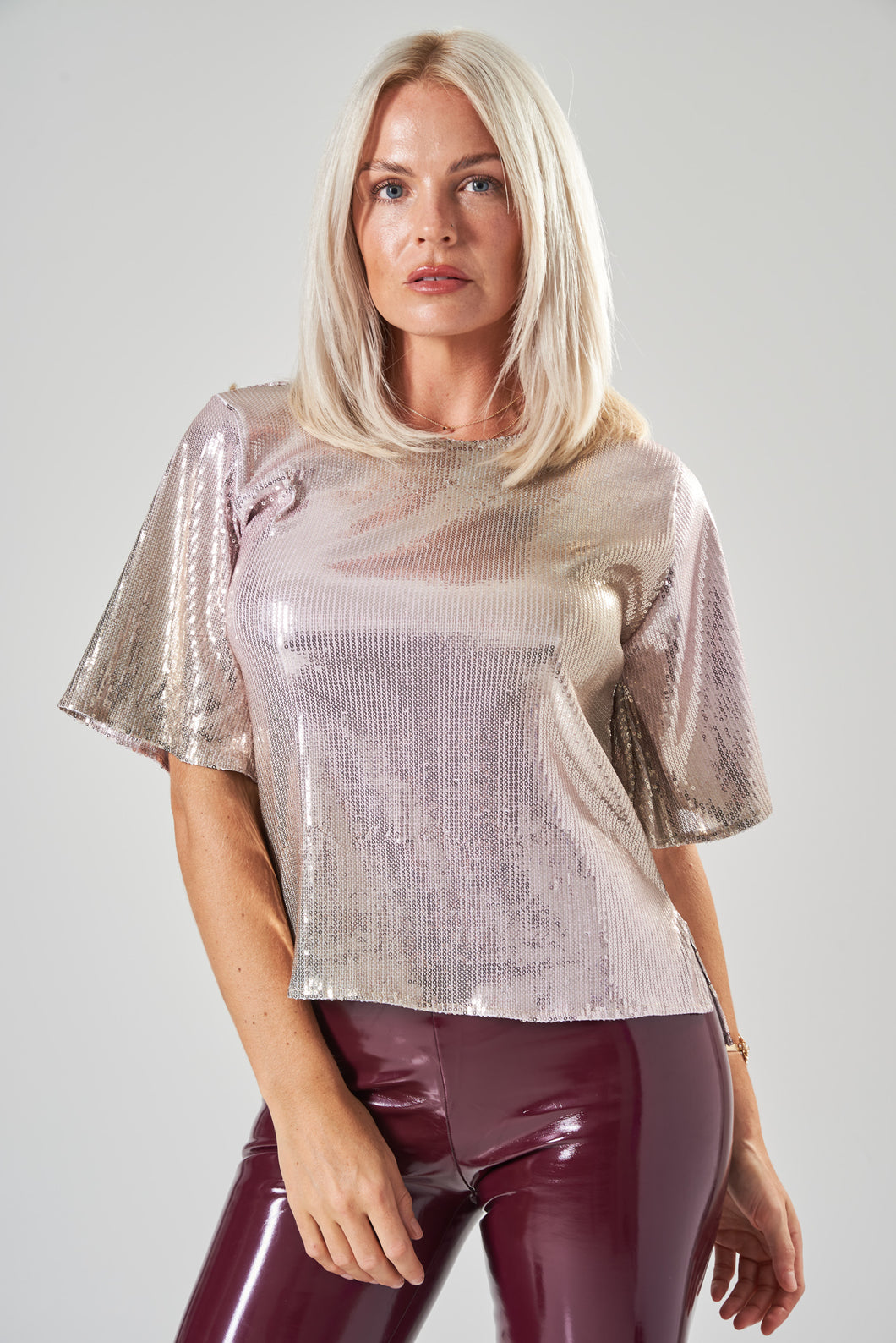 Pink & Gold Sequin Top