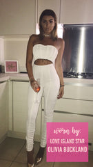 A White Jumpsuit Pleated Sweet Heart Boob Tube Skinny Fit