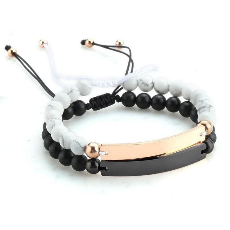 Adjustable Distance Bracelets with Custom Engraving - CoupleGifts.com