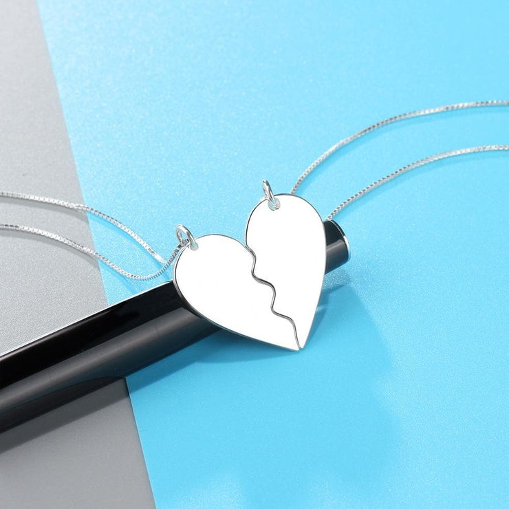 Broken Heart Matching Couple Necklaces Personalized with Names - CoupleGifts.com