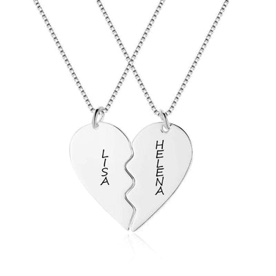 Broken Heart Matching Couple Necklaces Personalized with Names - Necklace - International