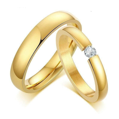 Classic Golden Promise Rings for Couples with Zirconia - Ring - 4