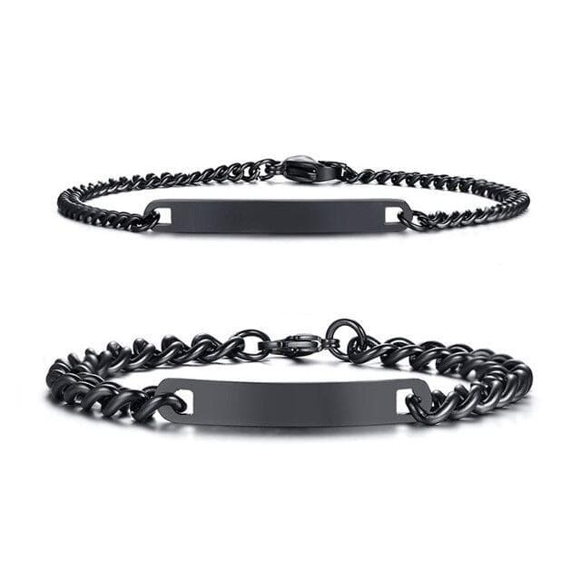 Couple Bracelets with Customized Engraving - Black - CoupleGifts.com