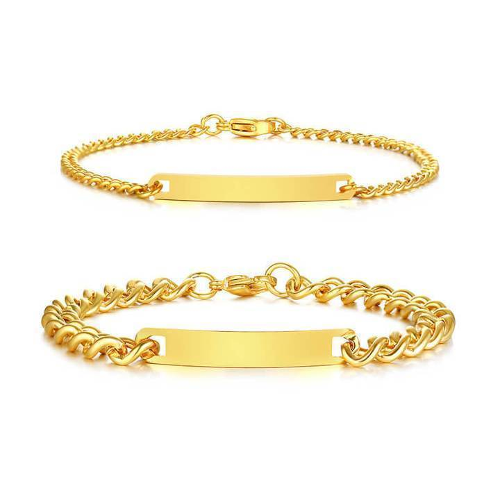 Couple Bracelets with Customized Engraving - Gold - CoupleGifts.com
