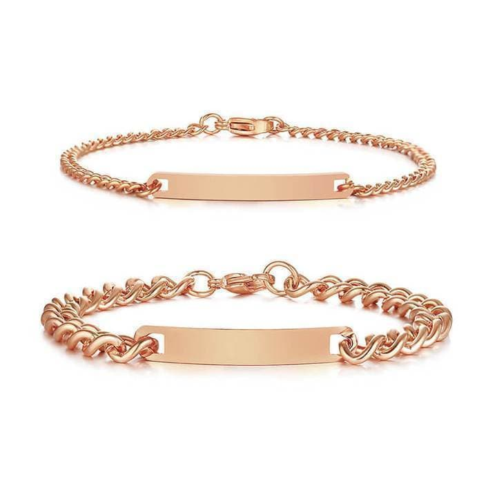 Couple Bracelets with Customized Engraving - Rose-Gold - CoupleGifts.com