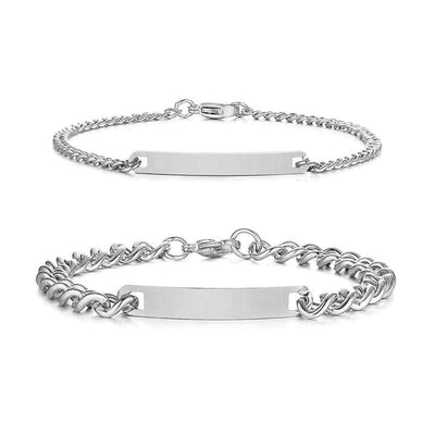 Couple Bracelets with Customized Engraving - Silver - Bracelets - Silver