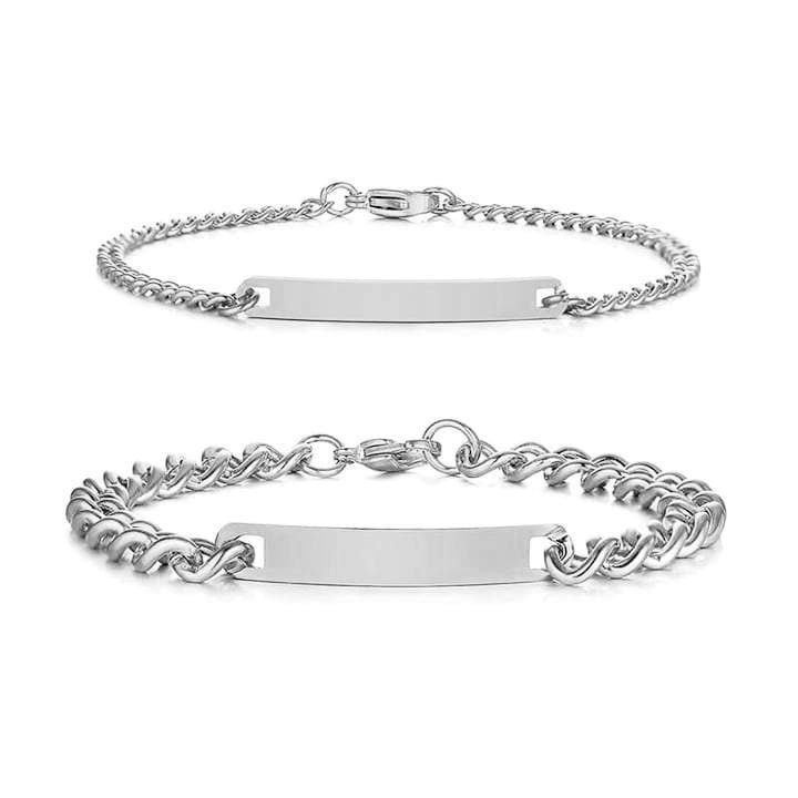Couple Bracelets with Customized Engraving - Silver - CoupleGifts.com
