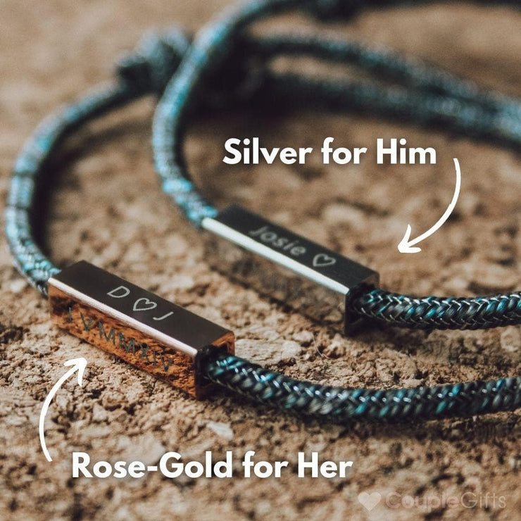 Custom Engraved Magnetic Couple Bracelets - CoupleGifts.com