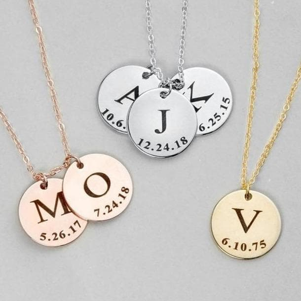 Custom Necklace With Engraved Initial Letter Circle Pendant - CoupleGifts.com