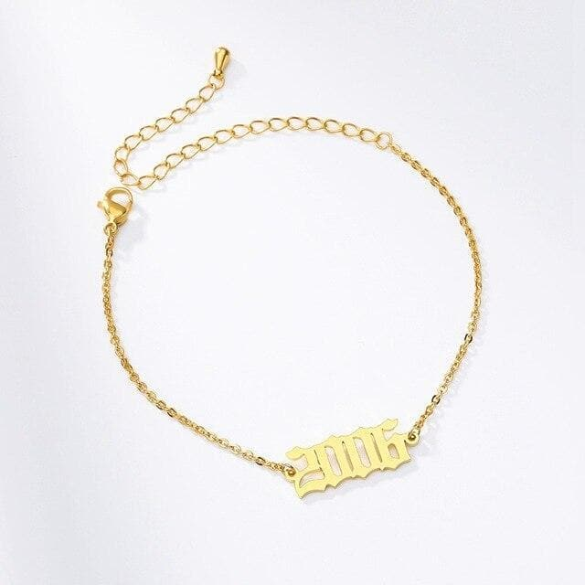 Custom Year Bracelet in Old English Numbers - CoupleGifts.com