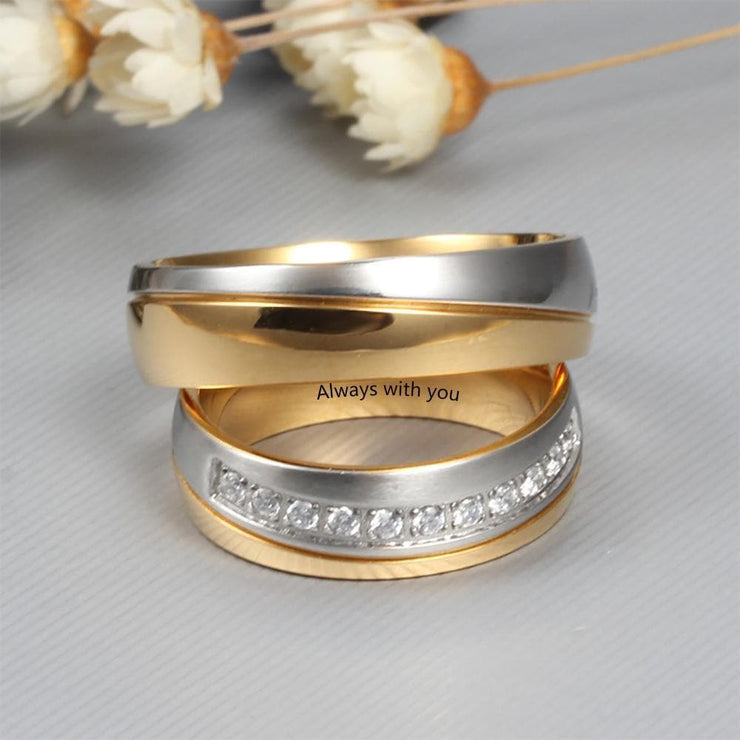 Customized Couple Ring Set with Zirconia Stones - CoupleGifts.com