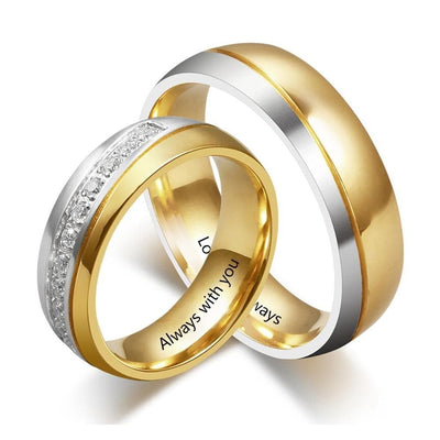Customized Couple Ring Set with Zirconia Stones - Ring - 5