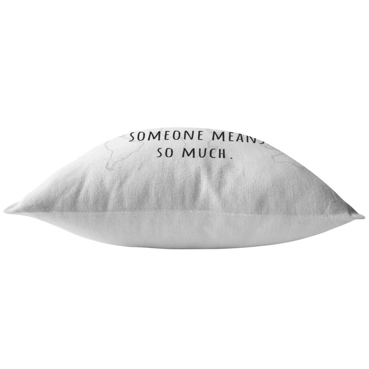 Distance means so little, when someone means so much - Long-Distance Worldmap Pillow - CoupleGifts.com