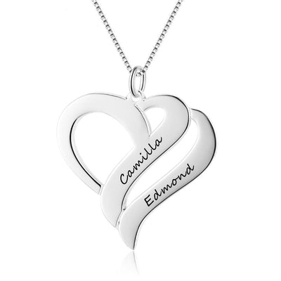Double Heart Shape Necklace with Engraved Names - Necklace -