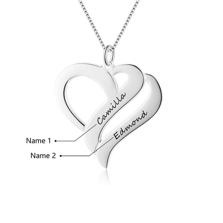 Double Heart Shape Necklace with Engraved Names - CoupleGifts.com