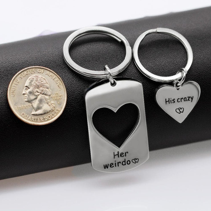 Engraved Interlocking Heart Keychains for Couples - CoupleGifts.com