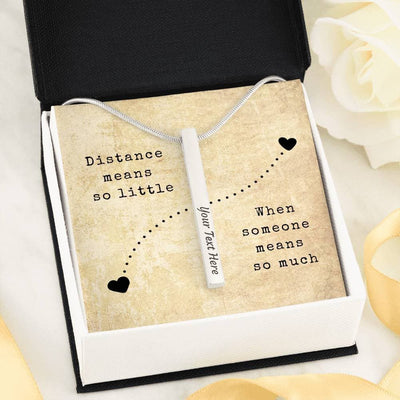 Engraved Names + Date Necklace for Long-Distance Relationship Couples - Necklace - Engraved Stick Necklace - 2 Sides (Stainless Steel)