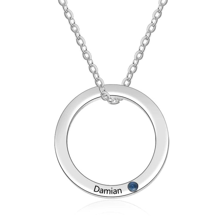 Engraved Ring Necklace with Custom Birthstone - CoupleGifts.com
