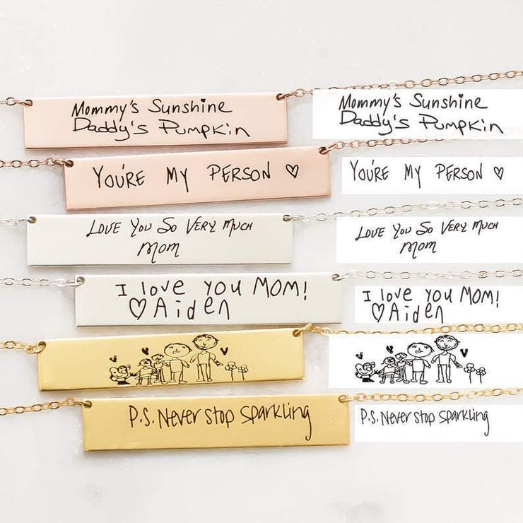 Handwritten Name or Note Necklace with Custom Engraving - CoupleGifts.com