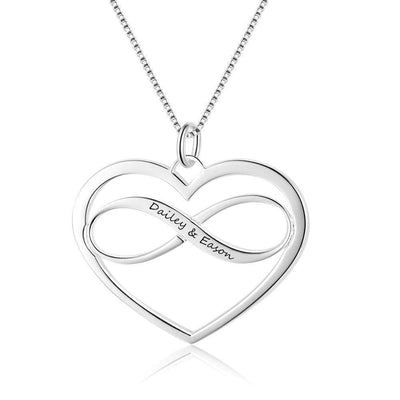 Heart & Infinity Love Necklace with Names Engraved in 925 Sterling Silver - Necklace - Free Engraving
