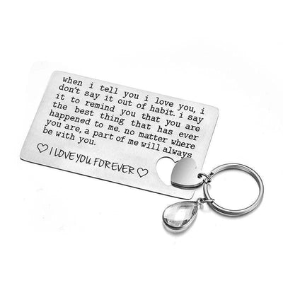 Heart Keychain & Matching Wallet Insert Card - Keychain - When I tell you