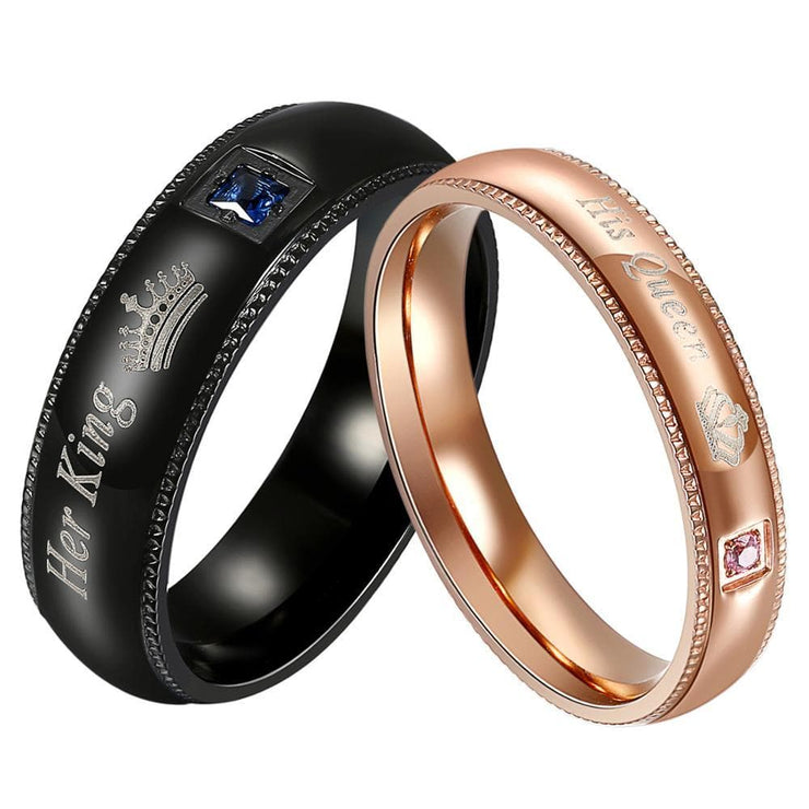 Her King and His Queen Couple Rings - CoupleGifts.com