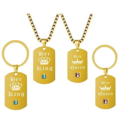 Her King and His Queen Keychain and Necklace Set - Keychain - Gold-color