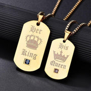 Her King and His Queen Keychain and Necklace Set - CoupleGifts.com