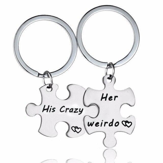 His Crazy & Her Weirdo - Matching Engraved Keychains - CoupleGifts.com