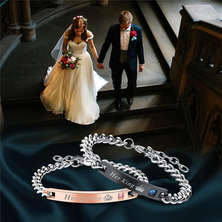 His Queen Her King - Couple Bracelets - CoupleGifts.com