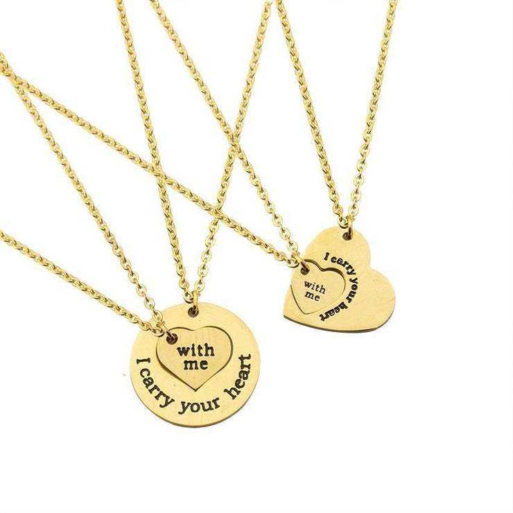 I Carry Your Heart With Me - Interlocking Matching Necklaces for Couples - CoupleGifts.com