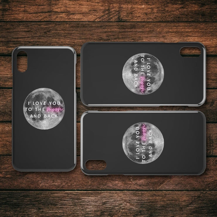 I Love You To The Moon IPhone Case Black - CoupleGifts.com