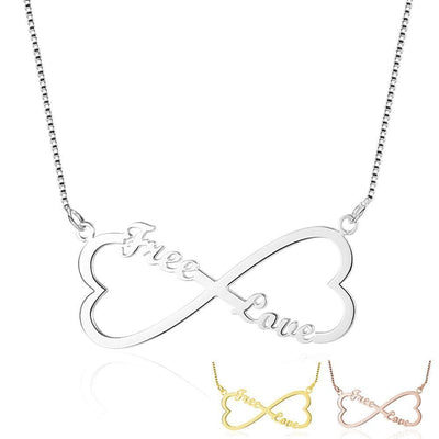 Infinity Double Heart Necklace with Custom Names in 925 Sterling Silver - Necklace - Gold
