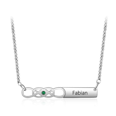Infinity Love Knot Bar Necklace with Personalized Birthstone and Name - Necklace - United States