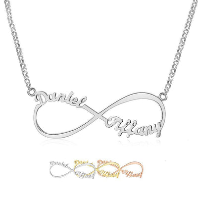 Infinity Necklace with 2 Names in 925 Sterling Silver - Necklace - Rose Gold Color