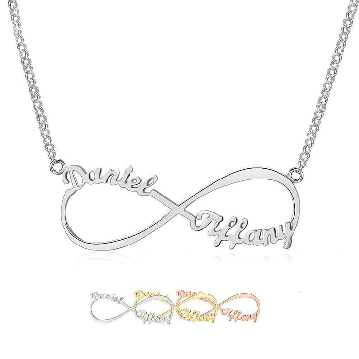 Infinity Necklace with 2 Names in 925 Sterling Silver - CoupleGifts.com