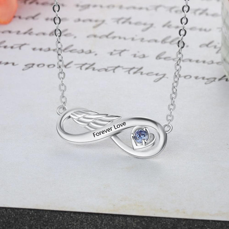 Infinity Wing Necklace with Engraving and Customized Birthstone - CoupleGifts.com