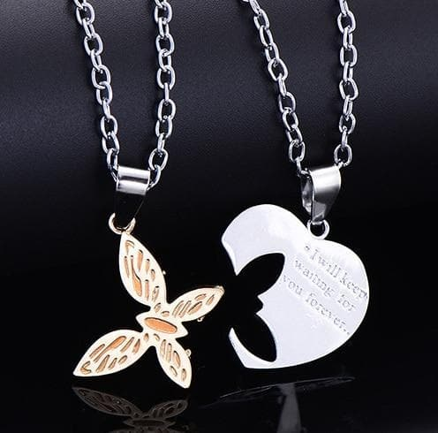Interlocking Heart and Butterfly Couple Necklaces - CoupleGifts.com