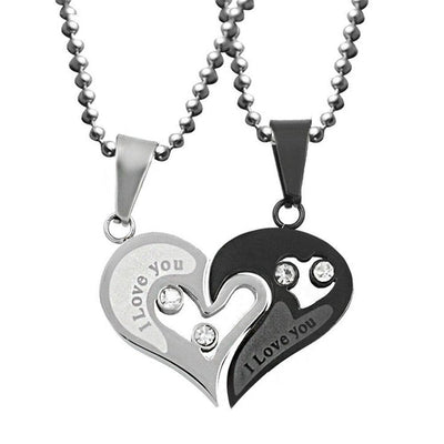 Interlocking Heart Love Necklaces for Couples - Necklace - Silver & Black
