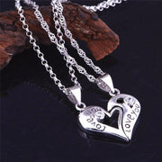 Interlocking Heart Necklaces - Love You Engraved - CoupleGifts.com