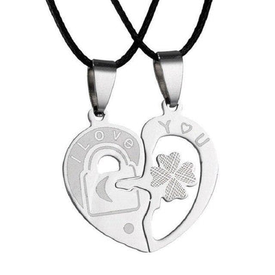 Key and Lock Interlocking Heart Necklaces for Couples - Necklace - one pair pendants