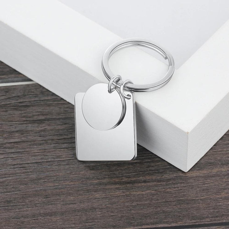 Keychain with Personalized Calendar and Heart Pendant - CoupleGifts.com