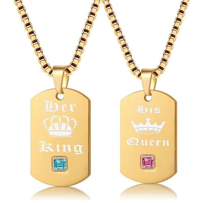 King and Queen Necklaces - Necklace - Gold