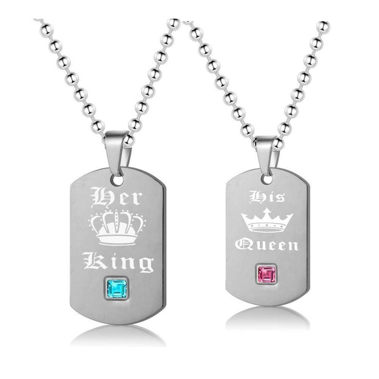 King and Queen Necklaces - CoupleGifts.com