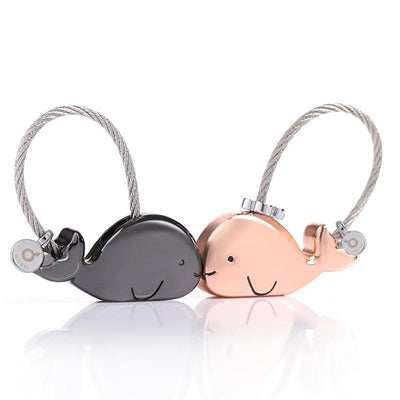 Kissing Whales Charms - Cute Pair of Matching Keychains - Keychains - Black + Rose-Gold