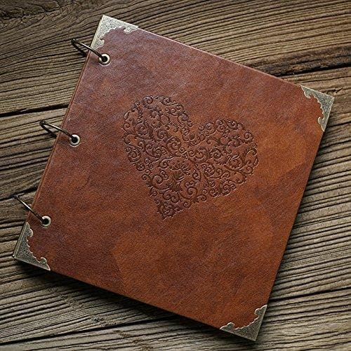 Leather Photo Album for Couples with Heart-Shaped Cover - CoupleGifts.com