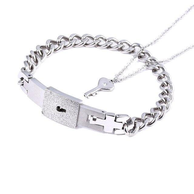 Locked Bracelet with Key Necklace for Men - CoupleGifts.com
